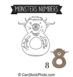 Coloring page monsters number 8