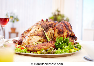 Holiday main dish - Delicious traditional roasted turkey on...
