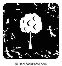 Tree icon, grunge style - Tree icon. Grunge illustration of...