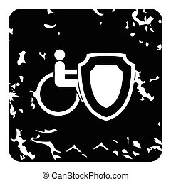 Insurance disabled concept icon, grunge style - Insurance...