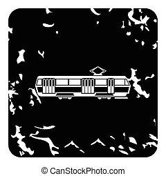 Tram icon, grunge style