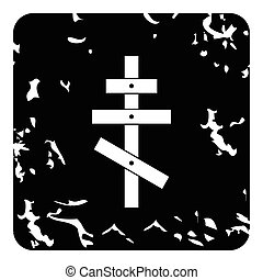 Orthodox cross icon, grunge style - Orthodox cross icon....