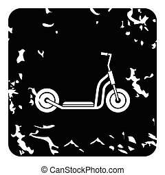 Kick scooter icon, grunge style - Kick scooter icon. Grunge...