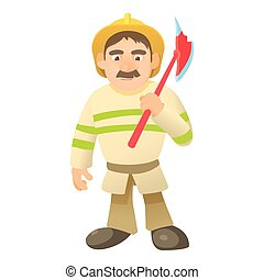 Firefighter with axe icon, cartoon style