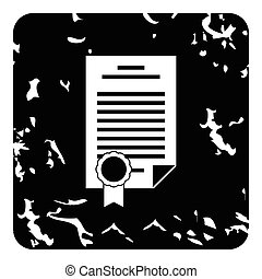 Insurance document icon, grunge style