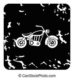 Motorcycle icon, grunge style - Motorcycle icon. Grunge...