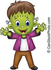 Cartoon Frankenstein Character - Vector illustration of...