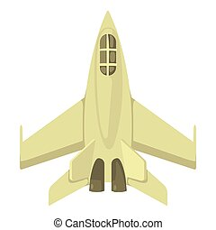 Military jet icon, cartoon style