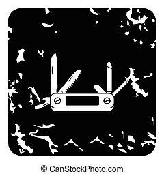 Pocket knife icon, grunge style - Pocket knife icon. Grunge...