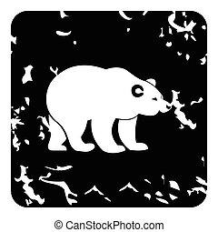 Bear icon, grunge style - Bear icon. Grunge illustration of...