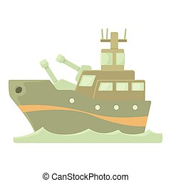 Battleship icon, cartoon style - Battleship icon. Cartoon...