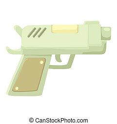 icono, estilo, arma de fuego, caricatura