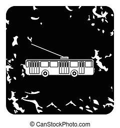 Trolleybus icon, grunge style - Trolleybus icon. Grunge...