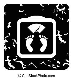 Floor scales icon, grunge style - Floor scales icon. Grunge...