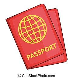 Passport icon, cartoon style - Passport icon. Cartoon...
