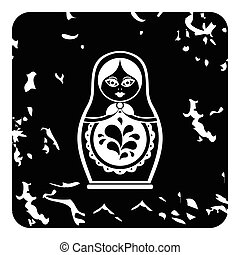 Russian nesting doll icon, grunge style
