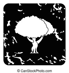 Young tree icon, grunge style - Young tree icon. Grunge...