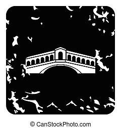 Rialto Bridge, Venice icon, grunge style - Rialto Bridge,...