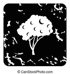 Fruit tree icon, grunge style - Fruit tree icon. Grunge...