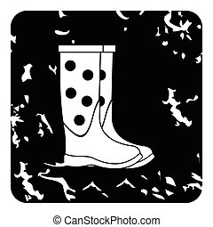 Rubber boots icon, grunge style - Rubber boots icon. Grunge...