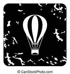 Air balloon icon, grunge style - Air balloon icon. Grunge...