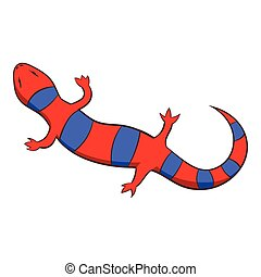 Red lizard icon, cartoon style - Red lizard icon. Cartoon...