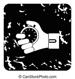 Hand holding stopwatch icon, grunge style - Hand holding...