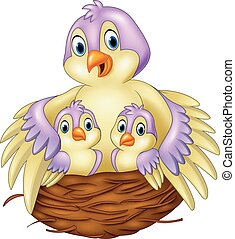 Mother bird with her two babies in the nest - Vector...