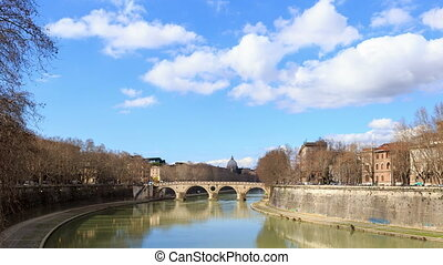 Bridge on the River Tiber systems. Rome, Italy. TimeLapse....