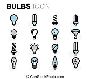 Vector flat bulbs icons set on white background