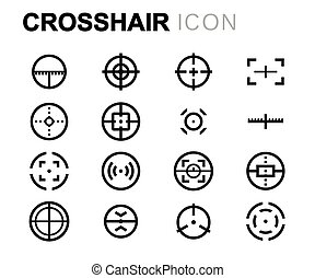 Vector line crosshair icons set on white background