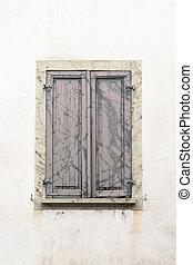 volets, flétri, fenêtre, gris