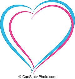 Blue and pink heart symbol of love