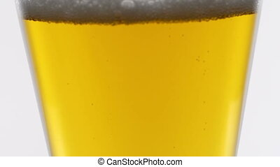 Beer is poured into a glass goblet. Slow motion