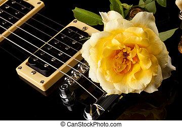 Yellow Rose Black Electric Guitar