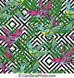 Seamless exotic pattern with colibri and palm leaves on...