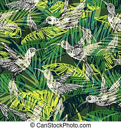 Seamless exotic pattern with abstract palm leaves and...
