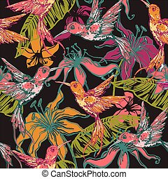 Hand drawn tropical background with colibri and flowers....