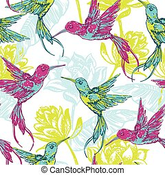 Hand draw tropical background with colibri bird.Vector...