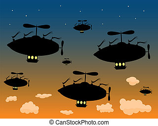 Group of Silhouetted Airship Sail H - Multiple Flying Ships...