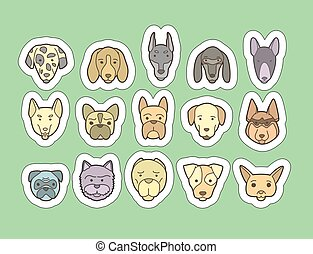 Dog breeds stickers - Head of dog and puppy set. Vector hand...