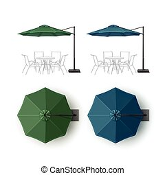 Set of Blue Green Patio Outdoor Beach Umbrella - Vector Set...