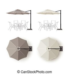 Set of Patio Outdoor Restaurant Round Umbrella - Vector Set...
