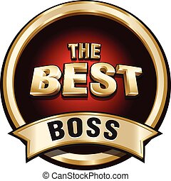 THE BEST BOSS shiny gold badge sign. Vector illustration.
