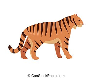 Red Tiger. Cartoon Vector Isolated Mamal Animal - Tiger...