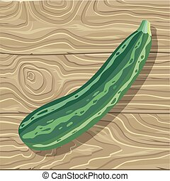 Zucchini on Wooden Background Vector Illustration