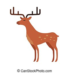 Deer in Flat Style Isolated on White - Deer isolated on...
