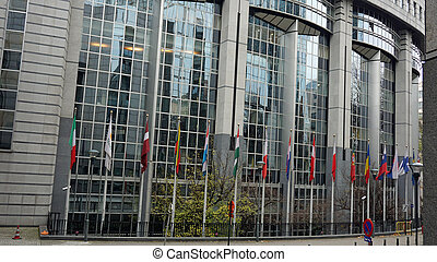 flags at parliment - brussels