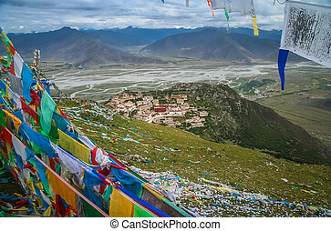 Buddhist prayer flags and the Gyantse monastery