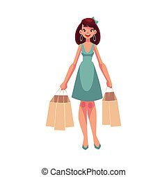 Young beautiful woman with shopping bags